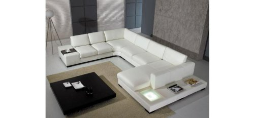 Modern Leather 5 Piece Sectional Sofa in ()