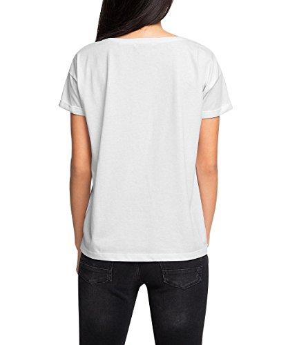 edc by Esprit Mit Print, Camiseta para Mujer Blanco (WHITE 100)