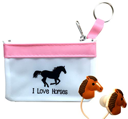 Cute Horse Headphones/Earbuds with Fun Pink Carry Case-Great Horse Gift for Girls