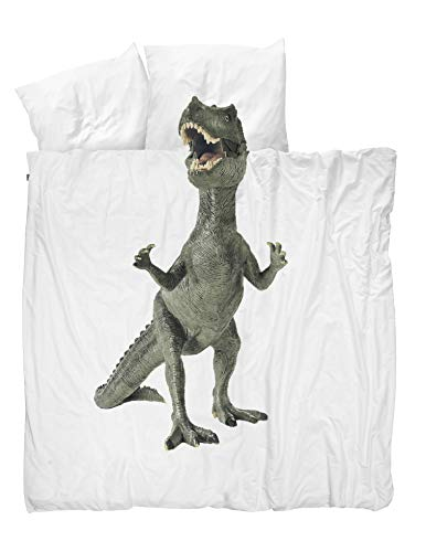 - Snurk Duvet Cover Set Duvet Cover with Matching Pillowcase - 100% Cotton Duvet Cover and Pillow Case Set for Kids - Soft Cover Bedding for Your Little One - Life Size Dinosaur for Queen/Full Beds