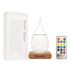 Sanson LED Storm Glass Weather Station Barometer Forecast Drop (Large) - A Unique Desktop and Home Mood Light Lamp Decorative Piece, Great for Gifts! (A Pattern Guide Will Be In The Description Below)