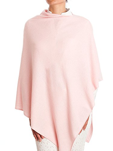 DALLE PIANE CASHMERE - Poncho Cashmere Blend - Made in Italy, Color: Pink, One Size (Poncho Womens Cashmere)