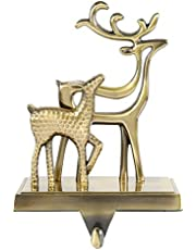 Christmas Stocking Holders for Mantel, Gold Hooks Classic Sturdy Christmas Stocking Holders for Indoor Fireplace Mantle Free Standing Christmas Decorations (Deer)
