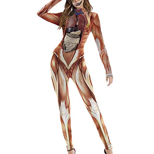 Carprinass Halloween Party Costumes Muscle Printed Catsuit Jumpsuits Brown M -