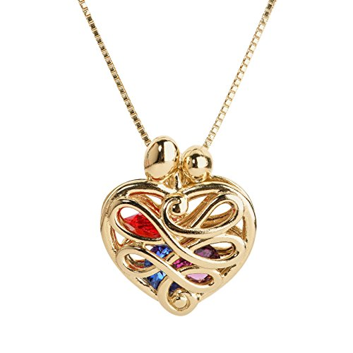 (Loving Family - Yellow Gold Plated Sterling Silver Small Heart Locket with 12 Birthstones - 20