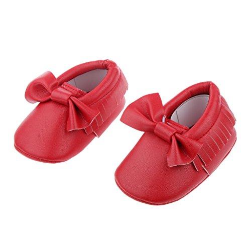 Zapatos Mocasín única Cuna Niño De Cuero Niños Bebé Del Bowknot - Negro, 12cm Rojo