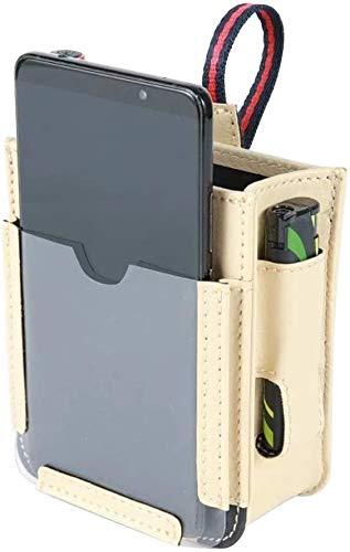 Bolsa de almacenamiento para ventilación de coche, multifuncional, con puerto de carga para teléfono, teléfono celular, cargador (beige)