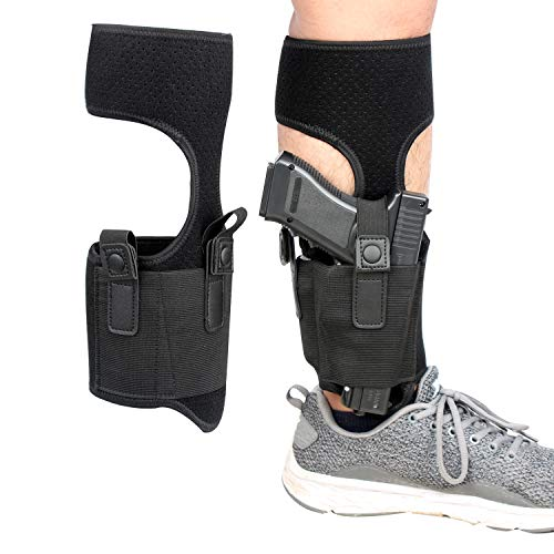 Kosibate Ankle Holster for Concealed Carry | Universal Leg Carry Gun Holster with Magazine Pouch Fits Ruger LCP 380 Glock 26 42 P938 S&W M&P Shield 9mm