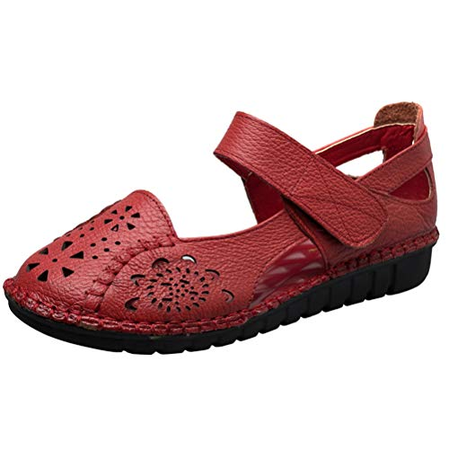 Mordenmiss Women's Hollow Out Sandals Vintage Hook Loop Handmade Mary Jane Flat Carving Moccasins Red US 10 ()