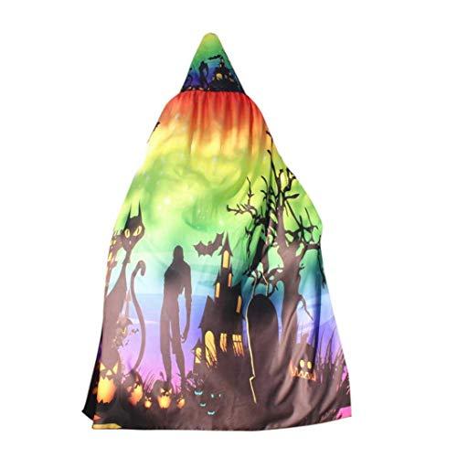 FEITONG Women Novelty Pumpkin Print Cape Scarf Lady Halloween Poncho Shawl Wrap Costume Accessory, 140x100cm(140x100cm,Multicolor) -