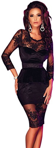 TomYork Black Lace Mesh Insert Sleeved Peplum Dress(Size,L)