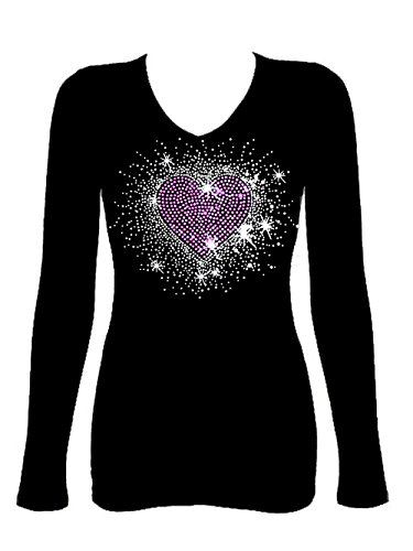 Rockeroo Boutique Pink Heart Burst Angel Wings Rhinestone Womens V Neck Long Sleeve Tee Shirt (1X)