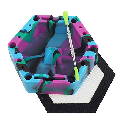 YHSWE Black/Green/Purle/Blue Silicone Hexagon Ashtray Unbreakable Colorful Tap Tray Ash Holds Cigarettes Blunts Most Cigars Cigarillo Lighters Rolling Paper