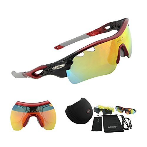 DUCO POLARIZED Sports Sunglasses UV400 Protection Cycling Glasses With 5 Interchangeable Lenses for Cycling, Baseball ,Fishing, Ski Running ,Golf - Sunglasses Materials