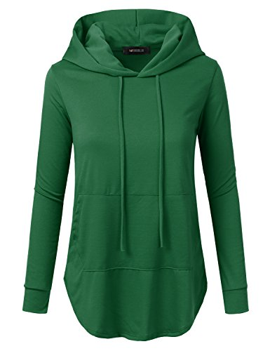 Doublju Loose Fit Pullover Hoodie With Kangaroo Pocket (Made In USA / Plus size available) EMERALD 3XL