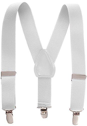 Suspenders for Kids - 1 Inch Suspender Perfect for Tuxedo - White (22