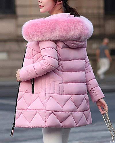 Acolchado Piel Espesar Mujer Plumas Invierno Pink Largos Termica Capucha Outdoor Moda Elegantes Parka Con De Larga Retro Manga Abrigo Pluma p1wqBgxg