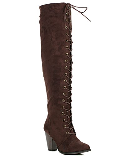 Forever Camila-47 Womens Chunky Heel Lace Up Over The Knee High Riding Boots,Brown Suede,9