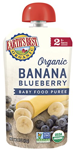Earths Best Organic Stage 2 Baby Food, Banana Blueberry, 4 oz. Pouch (Pack of 6)