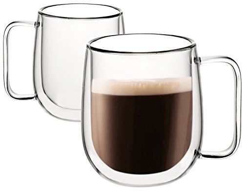 Huada Double Wall Insulated Borosilicate Glass Mugs Modern Espresso Cups, 10-Ounce, Set of 2 (Expresso Mug)