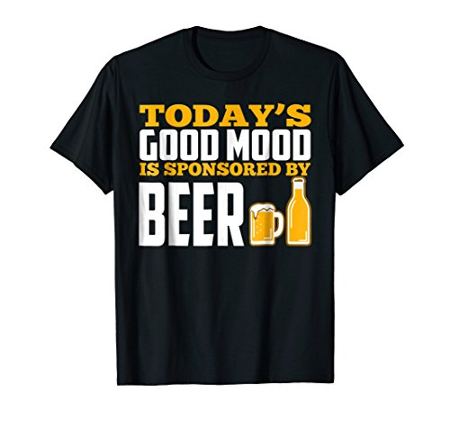 Mens Today's Good Mood Is Sponsored By Beer T-shirt Large Black (Mood Beer)