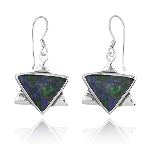 Sterling Silver 925 Star of David French Wire Earrings with Azurite ()