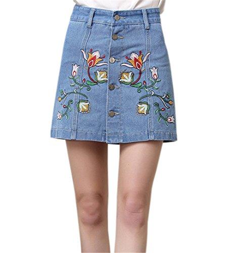 Haililais Femme Jupe Court Slim Fit Jupe en Jean Loisir Jupe A-Line ElGant Femelle Skirt Brod Chic Jupe Mini Tendance Jupe Blue