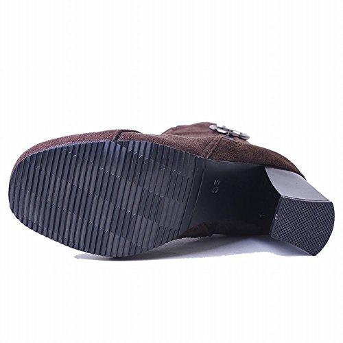 Latasa Womens Block Heel Ankle Boots Brown zyRSJ2Mt97