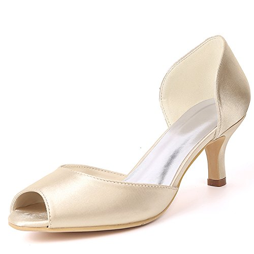 L@YC Women Wedding Shoes Side air Bridesmaid Almond Round Toe Platform Court/High Heels Champagne aiTAcQ03