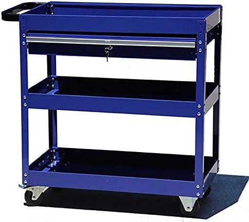 工具入れカート アセンブリハードウェアツールを扱うツールトロリースリーティア自動車修理メンテナンス売上高 工具カート キャビネット (色 : 青, Size : 70x35x76cm)