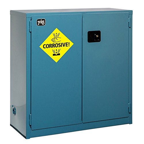 New Pig CAB757 18-Gauge Steel Corrosives Safety Cabinet with Self Close Door, 30 Gallon Capacity, 43