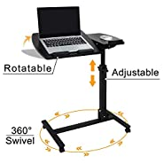 HomGarden Angle Height Adjustable Rolling Laptop Desk Mobile Notebook Table Stand Cart Tiltable Over Sofa Bed Hospital Computer Table Stand Cart Desk w/Lockable Casters
