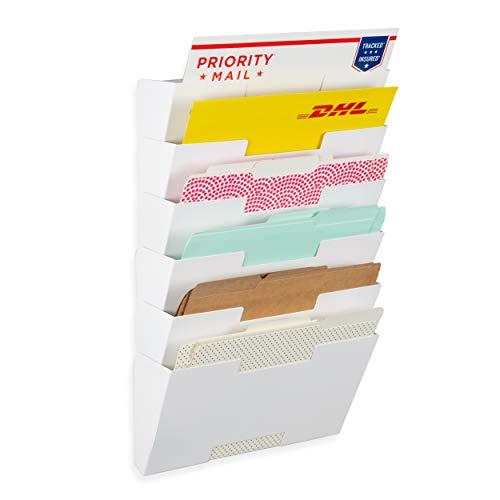 Wallniture Lisbon Wall Mount Metal Vertical Letter Size File Holder - Multi-Purpose Organizer Display Magazines 6 Sectional White ()