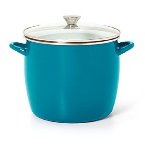 - Sabatier 16 Qt Teal Enamel on Steel Stockpot with Glass Lid
