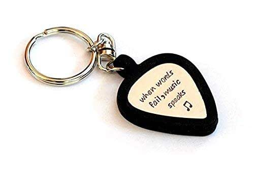 guitar pick holder keychain with metal guitar pick in brass bronze copper. Black Bedroom Furniture Sets. Home Design Ideas