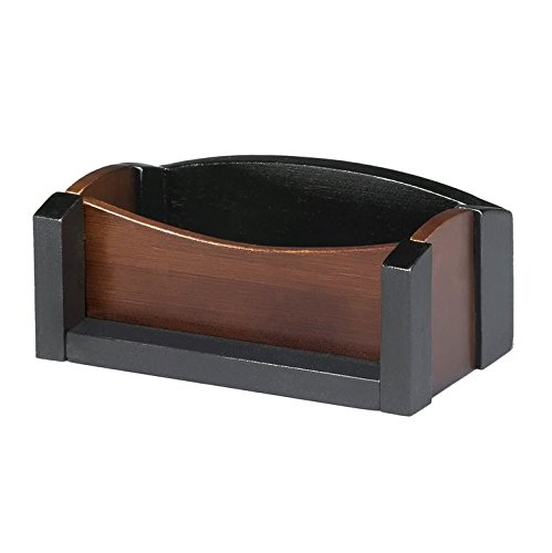 Artistic Dual-Tone Sustainable Bamboo Business Card Holder, Espresso Brown Black - Cards Executive Green Business