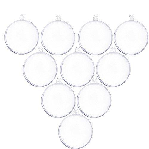 Pinzhi Weihnachtskugeln transparent Verzierung 10 stück DIY Kunststoff-Kugel teilbar als Saisonal Deko Weihnachtsgeschenk, Christbaumschmuck ,Baumschmuck Weihnachten Deko Anhänger (80mm)