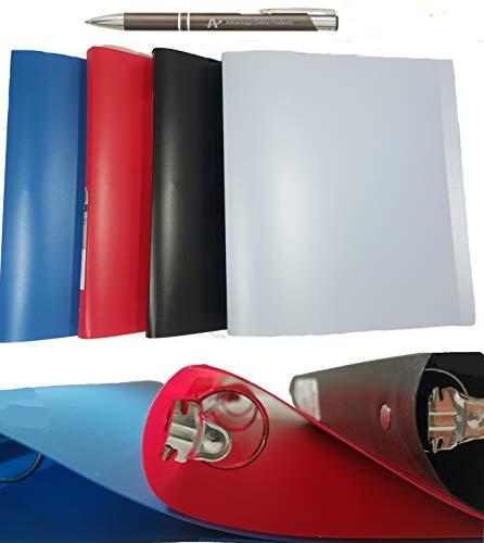 Wilson Jones ACCOHIDE Round Ring Binder, 19 Pt, 1 inch Capacity, 4-Pack Assorted Colors, 40510D, Plus Bonus AdvantageOP Custom Retractable Gunmetal Pen