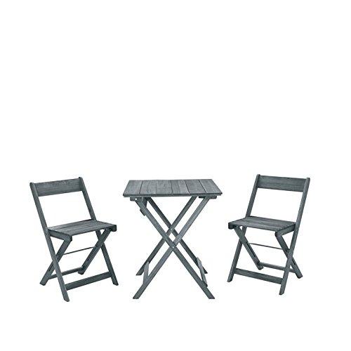 Linon Rey Gray Three Piece Square Table Set