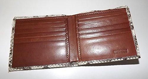 Baglioni Italia 10 Pocket Python Men's Wallet Snakeskin Bifold Natural Brown rrwx1dUqXn