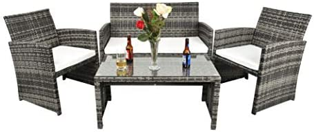 Gaier 4pcs Outdoor Rattan Wicker Patio Furniture Conversation Set