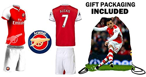 Fan Kitbag Alexis #7 Arsenal Youth Home/Away Soccer Jersey & Shorts Kids Premium Gift Kitbag ✮ BONUS Alexis #7 Drawstring Backpack (Youth Small 6-8 years, Short Sleeve w/Jersey Bag)