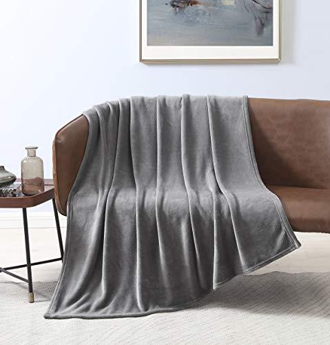 Love's cabin Flannel Fleece Luxury Blanket Throw Size Gray, Super Soft Double Side Warm Blanket, Cozy Microfiber All Season Blanket Couch