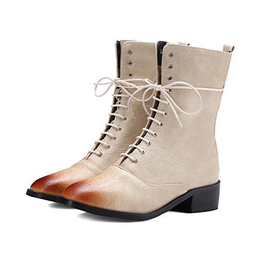 AgooLar Women's Solid Low-Heels Square Closed Toe PU Zipper Boots Beige CPi04217Be