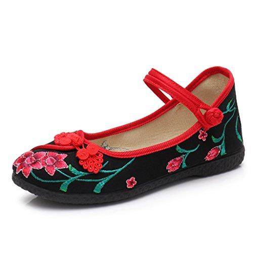 Plat Femmes Slip Printemps Occasionnels Noir brodé National Anti Mère Style Fond Chaussures Chaussures Rêver Printemps Chaussures qTFx4B