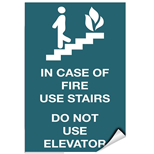- In Case Of Fire Use Stairs Do Not Use Elevator LABEL DECAL STICKER Sticks to Any Surface