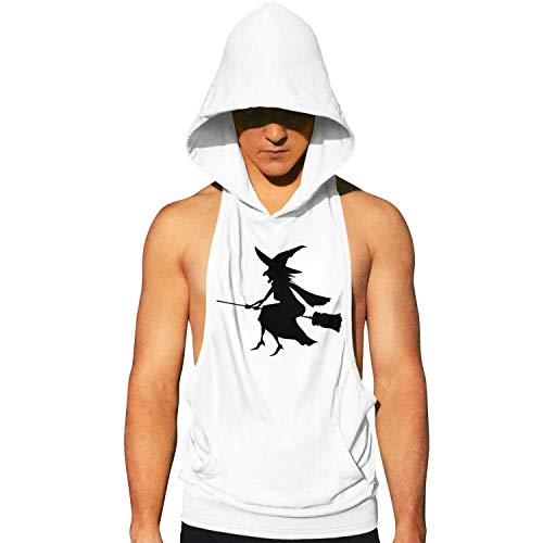 Workout Hooded Tank Tops Witchcraft Halloween Mens Sleeveless Bodybuilding Tank Top Hooded with Pocket Cool and Muscle Cut]()