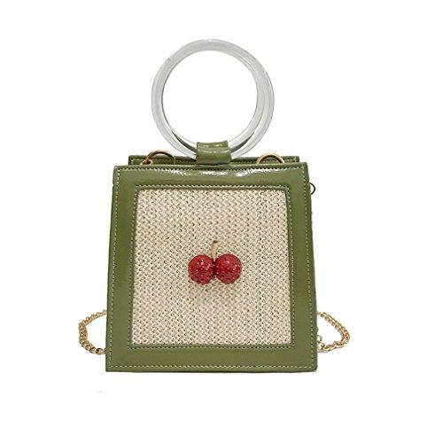 NEW Cherry Straw Crossbody Bags For Women Summer Messenger Bags style 1 L18cm W19cm Thk10cm