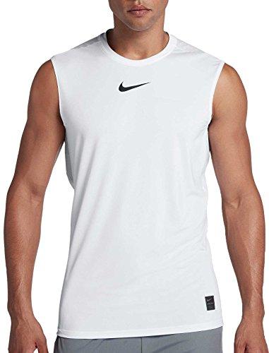 NIKE Pro Men's Fitted Sleeveless Shirt (White/Black, XX-Large)