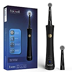 Power Electric Toothbrush Rechargeable for Adults with Timer Care Your Teeth Like Dentist Usb Charging Teeth Whitening Spinning Toothbrushes with 2 Round Heads FW2205 Black by Fairywill